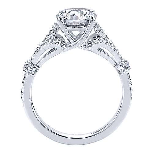 14k White Gold Diamond Split Shank Engagement Ring angle 2