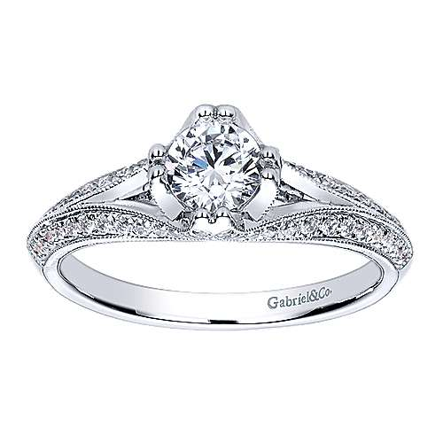 14k White Gold Diamond Split Shank Engagement Ring angle 5