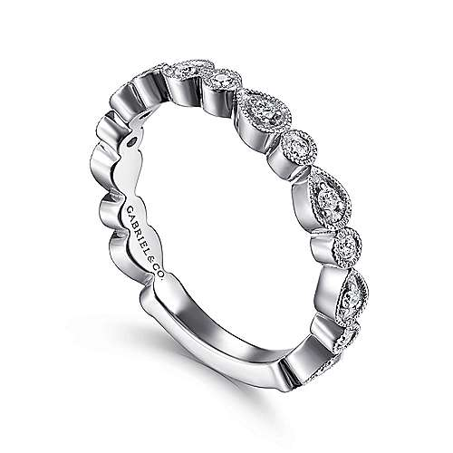 14k White Gold Diamond Stackable Ladies