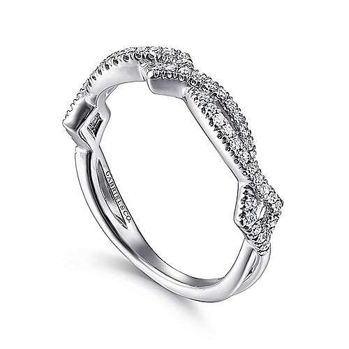 14k White Gold Diamond Stackable Ladies