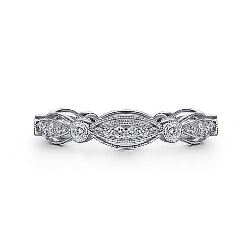 14k White Gold Diamond Stackable