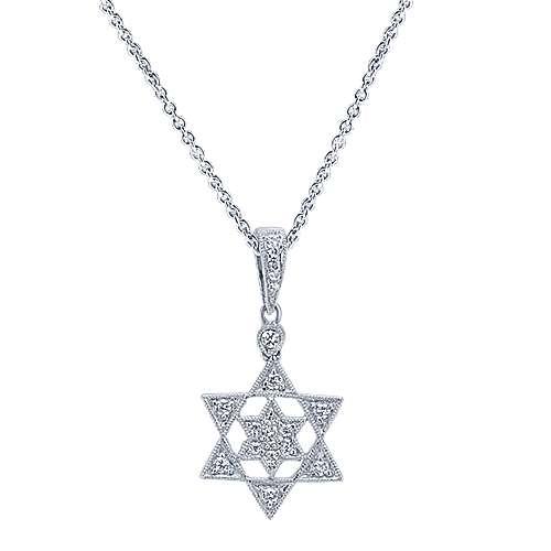 Gabriel - 14k White Gold Faith Star Of David Necklace