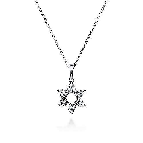 14k White Gold Faith Star Of David