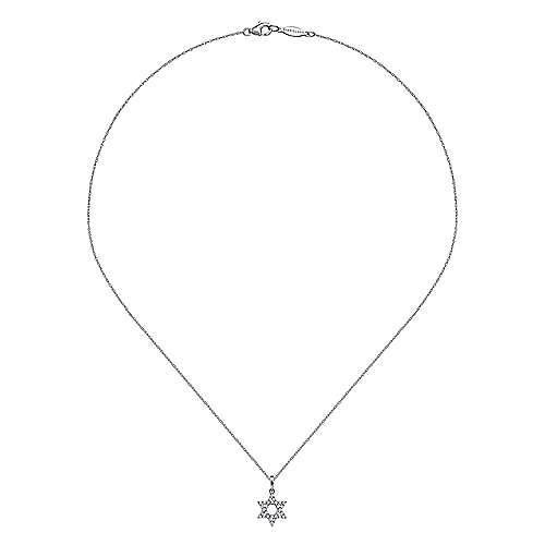 14k White Gold Diamond Star Of David Necklace angle 2