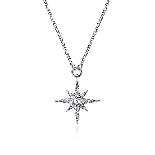 Gabriel - 14k White Gold Diamond Starburst Fashion Necklace