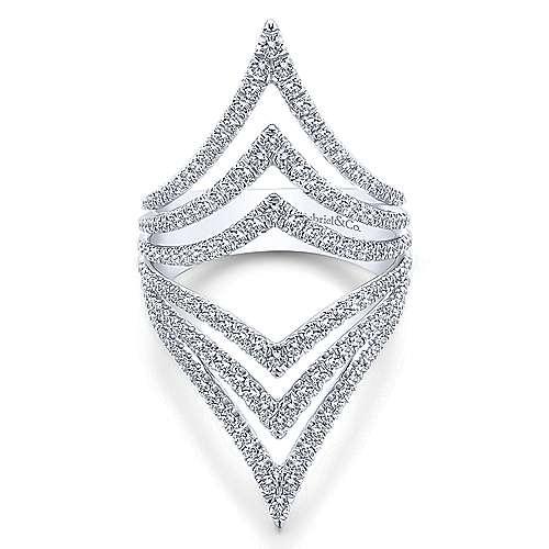 Gabriel - 14k White Gold Lusso Diamond Statement Ladies' Ring