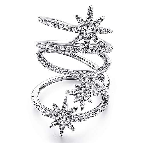 Gabriel - 14k White Gold Stellare Statement Ladies' Ring
