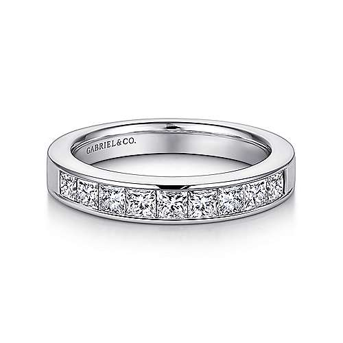 14k White Gold Diamond Straight Anniversary Band angle 1