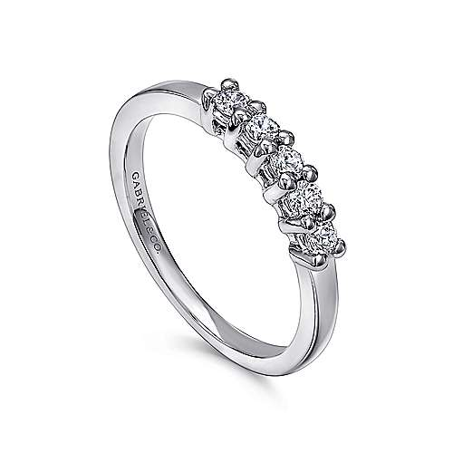 14k White Gold Diamond Straight Anniversary Band angle 3