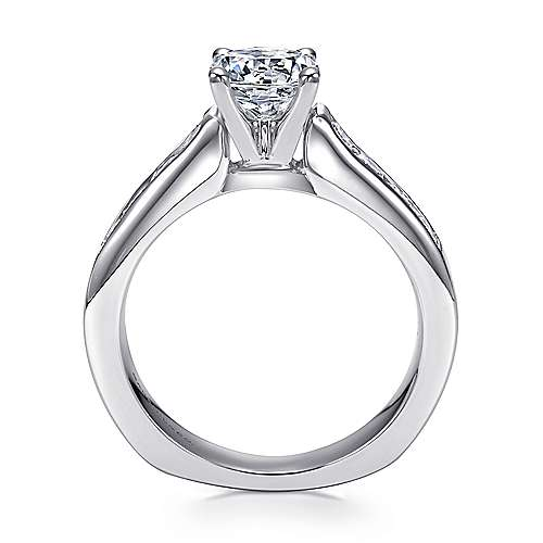 14k White Gold Diamond Straight Channel Engagement Ring with European Shank angle 2