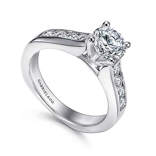 14k White Gold Diamond Straight Channel Engagement Ring with European Shank angle 3