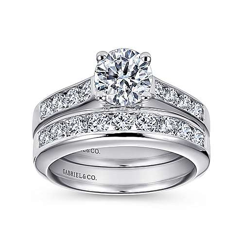 14k White Gold Diamond Straight Channel Engagement Ring with European Shank angle 4