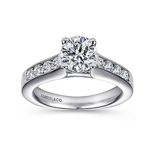 14k White Gold Diamond Straight Channel Engagement Ring with European Shank angle 5