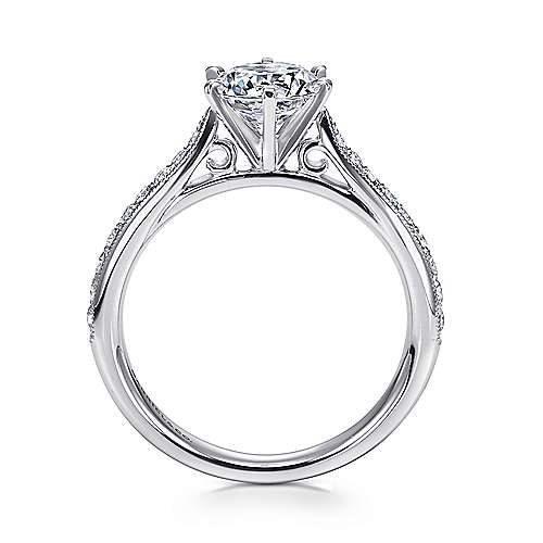 14k White Gold Diamond Straight Channel and Milgrain Engagement Ring angle 2