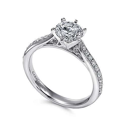 14k White Gold Diamond Straight Channel and Milgrain Engagement Ring angle 3