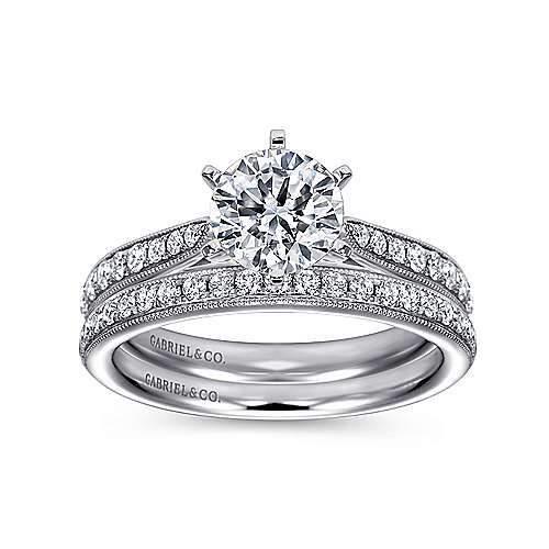14k White Gold Diamond Straight Channel and Milgrain Engagement Ring angle 4