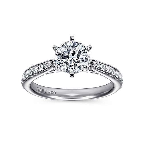 14k White Gold Diamond Straight Channel and Milgrain Engagement Ring angle 5