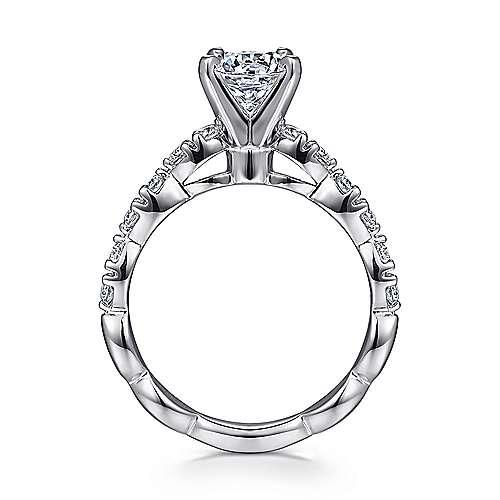 14k White Gold Diamond Straight Engagement Ring Cascading Pave Setting angle 2