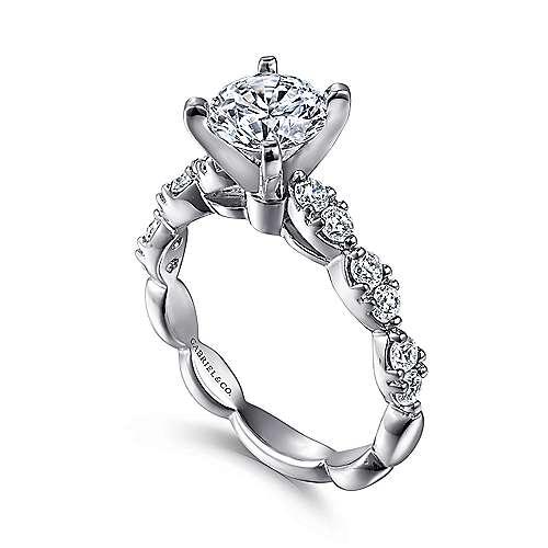 14k White Gold Diamond Straight Engagement Ring Cascading Pave Setting angle 3