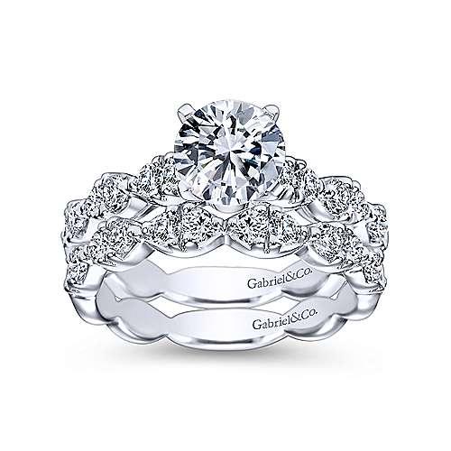 14k White Gold Diamond Straight Engagement Ring Cascading Pave Setting angle 4