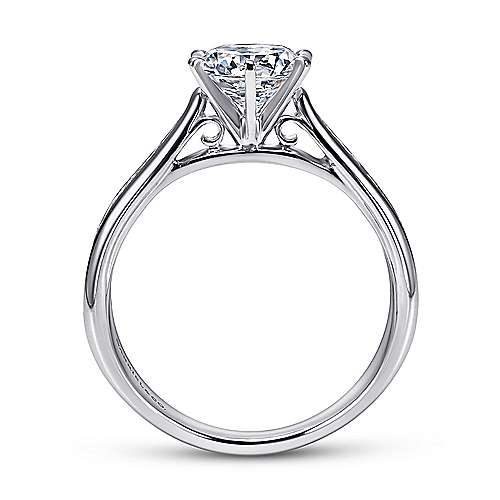 14k White Gold Diamond Straight Engagement Ring with Channel Setting angle 2