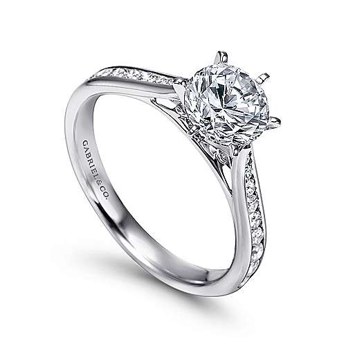 14k White Gold Diamond Straight Engagement Ring with Channel Setting angle 3