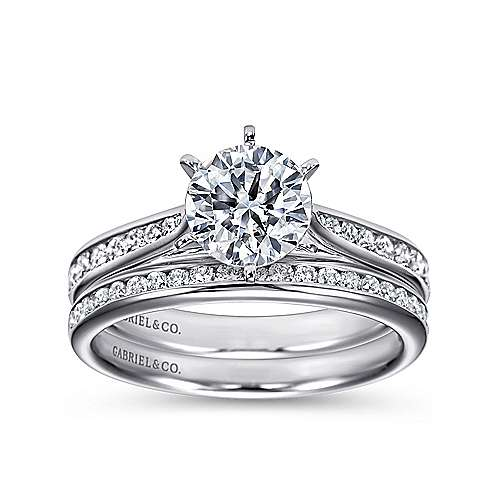 14k White Gold Diamond Straight Engagement Ring with Channel Setting angle 4