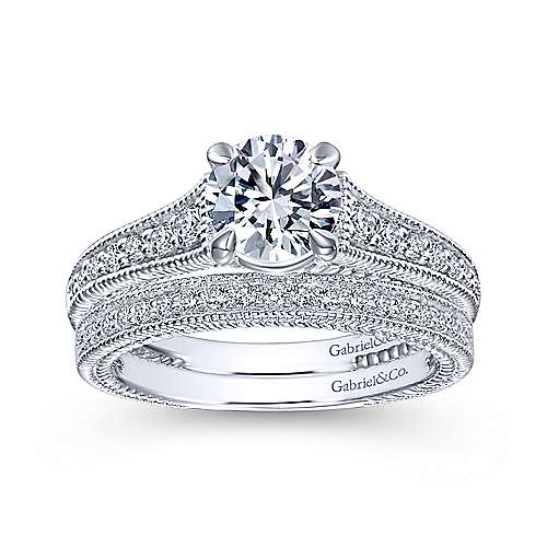 14k White Gold Diamond Straight Engagement Ring angle 4