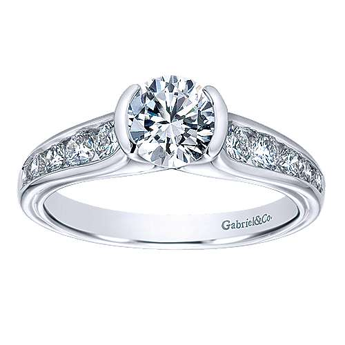 14k White Gold Diamond Straight Engagement Ring angle 5