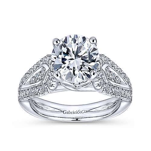 14k White Gold Diamond Straight Engagement Ring angle 5