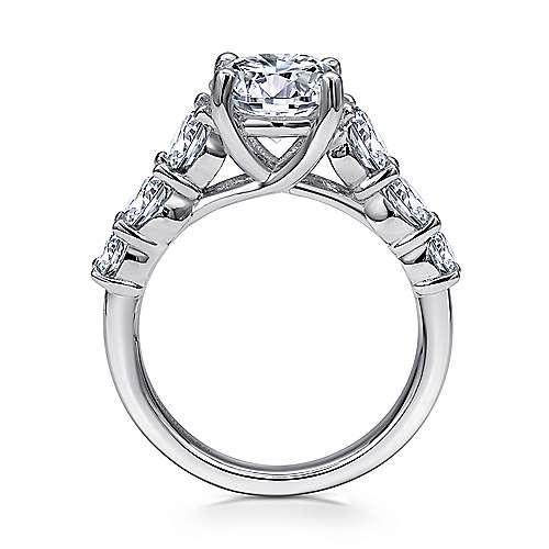 14k White Gold Diamond Straight Engagement Ring angle 2