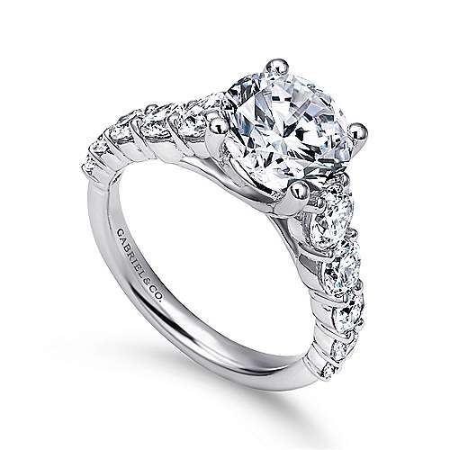 14k White Gold Diamond Straight Engagement Ring angle 3