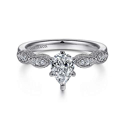 Gabriel - 14k White Gold Pear Shape Straight Engagement Ring