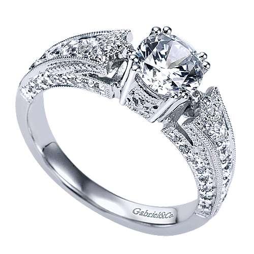 14k White Gold Diamond Straight Engagement Ring angle 3