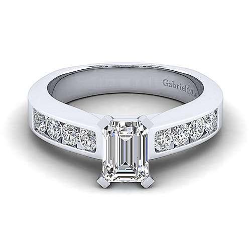 Gabriel - 14k White Gold Emerald Cut Straight Engagement Ring