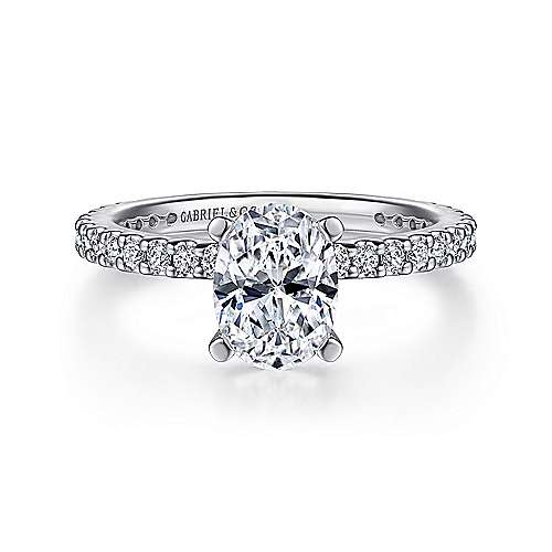 Gabriel - 14k White Gold Oval Straight Engagement Ring