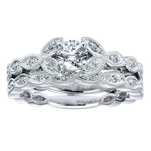 14k White Gold Diamond Straight Engagement Ring angle 4