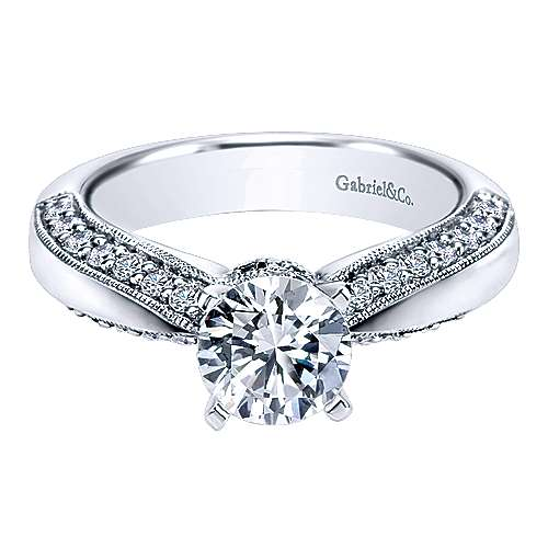 14k White Gold Diamond Straight Engagement Ring angle 1