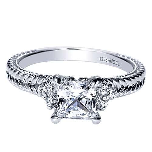 Gabriel - 14k White Gold Princess Cut Straight Engagement Ring