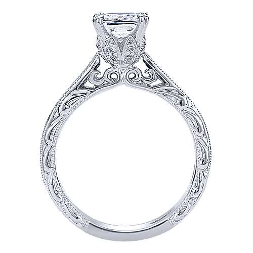 14k White Gold Diamond Straight Engagement Ring angle 2