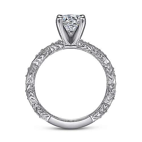 14k White Gold Diamond Straight Filgree Engagement Ring with Round Center angle 2