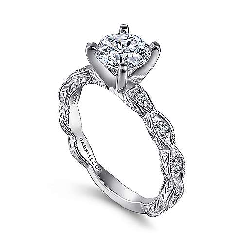 14k White Gold Diamond Straight Filgree Engagement Ring with Round Center angle 3
