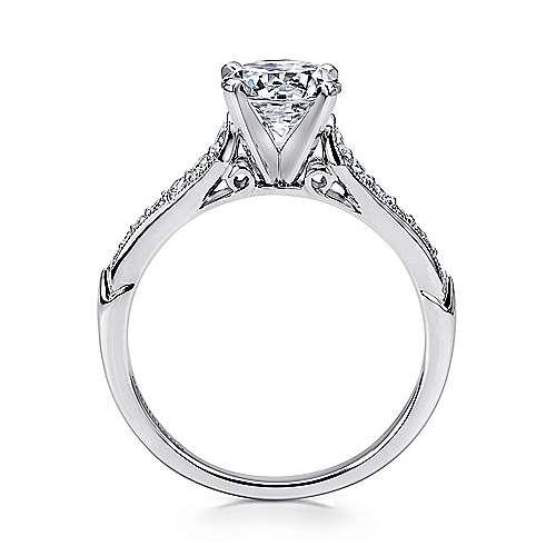 14k White Gold Diamond Straight Milgrain Channel Engagement Ring angle 2