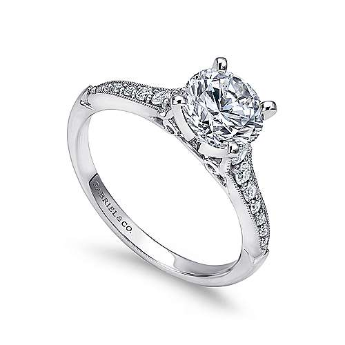 14k White Gold Diamond Straight Milgrain Channel Engagement Ring angle 3