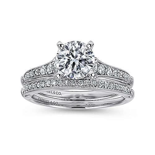 14k White Gold Diamond Straight Milgrain Channel Engagement Ring angle 4