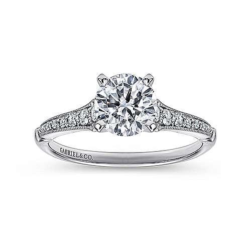 14k White Gold Diamond Straight Milgrain Channel Engagement Ring angle 5