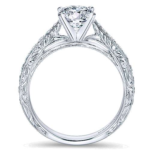 14k White Gold Diamond Straight Milgrain and Pave Channel Engagement Ring angle 2