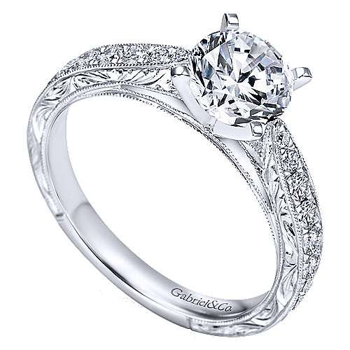 14k White Gold Diamond Straight Milgrain and Pave Channel Engagement Ring angle 3