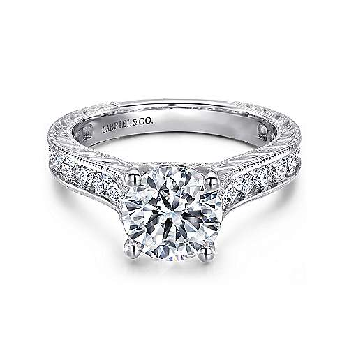 14k White Gold Diamond Straight Pave Channel Engagement Ring with Hand Cut Etching angle 1