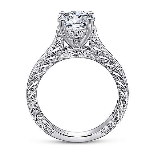 14k White Gold Diamond Straight Pave Channel Engagement Ring with Hand Cut Etching angle 2